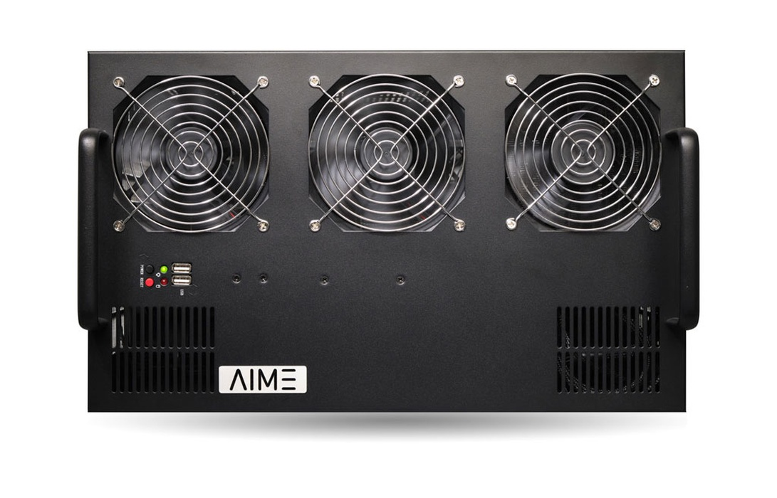 AIME R410 - 4 GPU Rack Server (front view)
