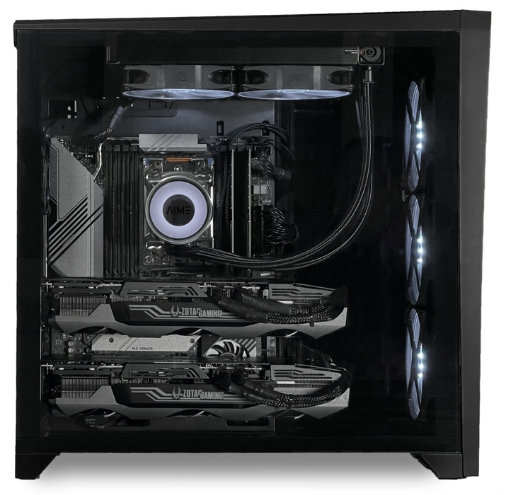 AIME T502 Multi GPU Workstation - Side